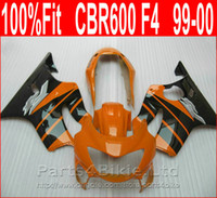 Wholesale cbr body parts - Perfect Body parts Injection molding for Honda Orange black custom fairings CBR 600 F4 1999 2000 fairing kit CBR600 F4 99 00 XBIS