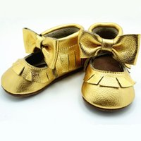 Wholesale Gold Baby Sandals - Wholesale-New gold bow Mary Jane sandals Genuine Leather baby shoes First Walkers design Toddler baby moccasins Shoes free shipping
