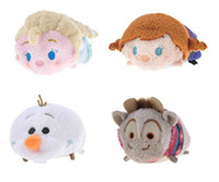 Wholesale Anime Plush Wholesale Japan - Japan Tsum Tsum Plush Toys Kawaii Froze Elsa Anna Olaf Sven Dolls Cute Soft Toys Smartphone Cleaner plush toy kids toys Gfts Birthday