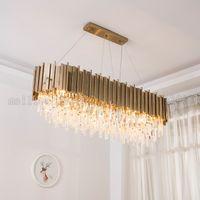 Wholesale circular light chandelier - BE160 Nordic Modern Creative Iron Gold Villa Crystal Chandeliers Living Room Lamp Lights Luxurious Circular   Ellipse Pendant Lamps Lighting
