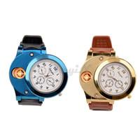 Wholesale Cigarette Lighters Wristwatches - Wholesale-Fashion Men's Casual Quartz Wristwatches Reclargeable USB Lighter Watch Windproof Flameless Cigarette Cigar Lighter Mens Watches