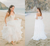 Wholesale strapless halter beach dress - Simple Beach Wedding Dresses Sweetheart Strapless Lace Top Chiffon Skirt Ruffles Flouncing Bridal Dress Zipper Back 2016 Spring Gowns