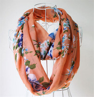 Wholesale Spring Infinity Scarves - New Arrival Flower Print Chiffon Scarves Spring & Autumn Womens Fashion Loop Circle Scarf Infinity Cowl Scarfs High Quality K1090