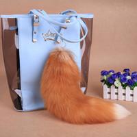 "Wholesale Crystal Fox Tail - URSFUR Crystal Fox Tail Fur Key Chain Natural Color 17"" Tassel Bag Hanging Pendant Car Charm Key Ring Accessory Christmas Gift"