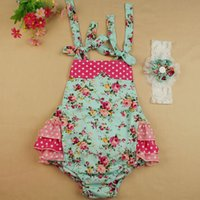 Wholesale Little Girl Lace Rose Dress - 2016 NEW baby girl kids toddler sets Polka dots Little floral romper onesies Cotton Lace Camisole Leotard pants tutu dress + rose headwrap 6