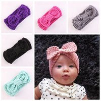 Wholesale Twist Knot Headwrap - new Boutique Xmas Newborn knit elastic Head Wrap knitting wool bow hair band baby baptized Headband Turban Twist knotted Headwrap FD6579