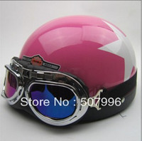 Wholesale Motorcycle Half Helmets Victory - Wholesale-Free shipping Motorcycle Half Face Motorbike Victory Helmet Motorcycle Racing Helmet With Hot Goggles Pink with star D-633PS