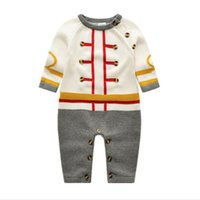 Wholesale Boys Fall Sweaters - Newborn Hot selling new arrivals fall baby kids climbing sweater gentleman romper high quality cotton long sleeve autumn romper 0-2T