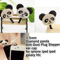 Wholesale Anti Dust Plug Panda - Wholesale-20PCS.bling diamond panda ear cap 3.5MM jack anti-dust plug for iphone 4 s samsung galaxy s HTC,free shipping