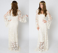 vestido hippie marfil al por mayor-De inspiración vintage de Bohemia del vestido de boda manga de Bell del ganchillo del cordón de marfil o vestido de encaje blanco bordado Maxi Hippie de la boda vestido de Boho