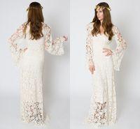 inspirar boda al por mayor-Vestido de boda bohemio inspirado en la vendimia BELL SLEEVE LACE Vestido de boda de hippie marfil o blanco de ganchillo Vestido de encaje maxi bordado de Boho