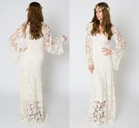 vestido bordado das luvas do laço venda por atacado-Vintage inspirado vestido de noiva boêmio BELL SLEEVE LACE Crochet marfim ou branco Hippie vestido de noiva Boho bordado Maxi vestido de renda