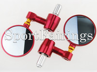 Wholesale Cnc Bar End Mirrors - Universal Red Round Adjustable Bar End Rear View Side CNC Motorcycles Mirrors Motorbike Parts New