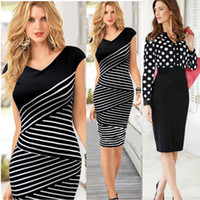 Wholesale Elegant Blouse Woman - Fashion Women Casual Dress Striped Black Polka Dot Chiffon Blouse High Waist Pencil Dresses for OL Work Suits Slim Elegant Lace M184 0710