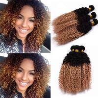 brazilian yumuşak kıvırcık saç toptan satış-Ombre Brezilyalı Bakire Saç Kıvırcık Örgü 3 Demetleri 8A Yumuşak Sapıkça Kıvırcık İnsan Saç # 1B 27 Ucuz Kıvırcık Omber Saç