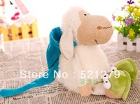 Wholesale Shaun Sheep Nici - free shipping 1pcs 25cm=9.8inch NICI shaun the sheep plush toy sleepy sheep doll with cap for birthday gift Christmas gift