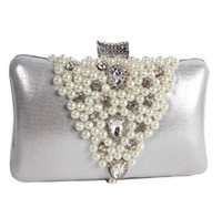 Wholesale Cell Holder Cloth - 2016 diamond hand bag dinner Beaded Pearl diamond dinner handbag cloth handbag party dress collocation clutch Free shipping