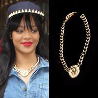 Wholesale Rihanna Lion Jewelry - 120 vintage fashion punk jewelry rihanna same paragraph gold plated lion head sculpture pendant thick chain chokers necklaces