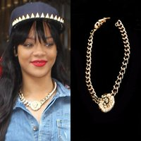 gargantilla león al por mayor-P120 joyería punky de la manera de la vendimia Rihanna mismo párrafo oro plateado cabeza de león escultura colgante grueso cadena gargantillas collares