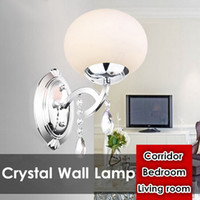 Wholesale Glass Wall Light Shades - Brief one head Glass Shade Crystal Wall Lamp Chandelier Light Fashion Chandelier Circular Lamps Living room Bedroom Corridor Balcony Light
