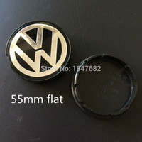 Wholesale Vw Emblem 55mm - High quality 20pcs lot 55mm flat 65mm 70mm 77mm VW Jetta Golf Volkswagen Emblem Wheel Hub Center Caps Covers auto accessories