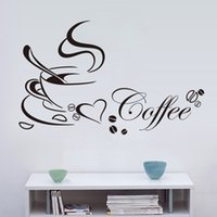 Wholesale Live Coffee Plant - Love Coffee Stickers Shop Kitchen Decorations Diy Home Decal Vinyl Art Room Mural Poster Removable Adesivos De Paredes