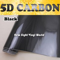Wholesale Air Free 3d Carbon Fiber - Premium High Glossy Black 5D Carbon Fiber Car Vinyl Wrap Film Foil Sticker Air Free Car Wrapping