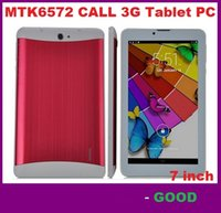 Wholesale 3g Tablet Phone Free Shipping - 7 Inch 3G Phablet HD 1024x600 GSM WCDMA MTK6572 Dual Core Dual SIM Dual Cameras GPS Android 4.4 Phone Calling Tablet DHL FREE SHIPPING