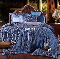 Wholesale Luxury Jacquard Sheets - Luxury jacquard satin cotton silk King Queen Size bedding set 4pcs Duvet Quilt cover bed sheet pillowcase comforters tencel set