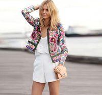Wholesale Beige Women Short Coats - 2015 Spring autumn Fashion O-neck Long Sleeve vintage Floral Printed Women Short Jackets Coat Outerwear BaseBall Jacket FG1511