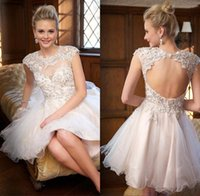 Fashion Sheer Jewel Neck Short Abiti Homecoming 2016 Crystal Fitted Top Tulle Gonna con foro chiave posteriore Cocktail Party Gowns Custom Made