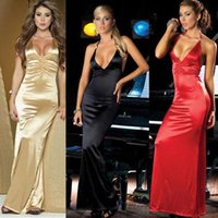 Wholesale Sexy Dress For Night Party - Sexy Black Bodycon Night Club Dresses Gold Dresses For Women Halter Long Mermaid Evening Dresses Club Wear Nightclub Party Dresses