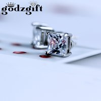Wholesale Stone Ear Jewelry - Godzgift Punk Copper Tone Clear Cubic Zirconia Square Not Magnetic Stud Earrings For Womens Cz Stone Ear Studs Jewelry JE0085