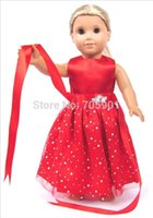"""Wholesale Handmade Girls Accessories - Wholesale-Wholesale New Red Dot Doll Dress Handmade Doll Clothes Skirt 18"""" 18 inch American Girl Doll Accessories DIY Christmas Gift"""
