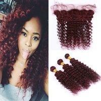 vino rojo tejido profundo pelo rizado al por mayor-Wine Red 99J Deep Wave Hair Bundles con encaje Front closure Borgoña Deep Curly cabello humano Weaves con encaje frontal