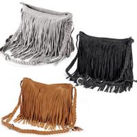 Wholesale Brown Leather Fringe Handbags - 2015 Fashion Celebrity Fringe Tassel Suede Shoulder Bag women's fashion handbag tassel fringe designed Satchel bags Cross Body