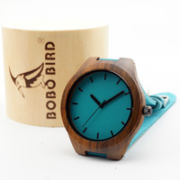 Wholesale Oem Ebony - 100% ebony Classic wood Watch Wooden Blue Casual Quartz Luxury Watches with scale For Men Women with gifts box Accept Customization OEM
