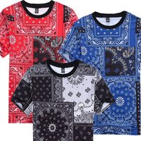 Wholesale Blue Red Crewneck - Tide Brand Men's Casual T-Shirt Bandana Printed Short sleeved Crewneck T shirt Hip Hop Street tops tees