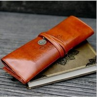 Wholesale Twilight Retro Pen Bag - New Fashion Twilight Bag Designer Vintage Retro Roll Leather Make up Cosmetic Pen Pencil Case Pouch Purse Bag Accessories