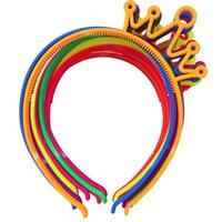 Wholesale Wholesale Little Girls Tiaras - Xima 12pcs Mix Color Abs Material Plastic Crown Headbands Tiaras For Little Girls Hair Accessories Headbands
