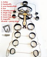Wholesale Steel Cuff Chastity Belt - Stainless Steel 10pcs Set Female Chastity Device Chastity Belt bdsm Bondage Restraint Slave Toys Collar Hand(Thigh) Cuffs Butt Plug