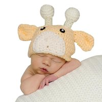 Wholesale Cow Hats - Newborn Baby Hats,Cute Yellow Cow Shape Knitted Baby Girls Beanie Cap With Ear for 0-6 months