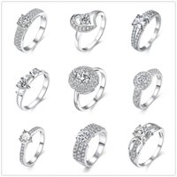 Wholesale Swarovski Pave - 925 Sterling Silver Plated Rings Zircon Round Heart Charms Rhinestone Swarovski Crystal Rings Wedding LOVER Ring Gift Size 7 & 8