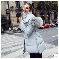 Wholesale Coats Racoon Fur Collar - Wholesale-Women Winter Hooded Jackets Wadded-Cotton Winter Coat Medium-Long Parka Thicking Warm High Copy Racoon Fur Collar Parka GA0110