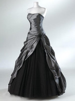 Wholesale Actual Image Ball Gown Dress - Purple And Black Ball Gown Gothic Wedding Dresses for Brides Strapless Grey Floor Length Actual Picture Bridal Gowns Vestidos de Novia