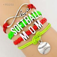 Wholesale Baseball Sports Pendants - Infinity Love Softball Mom Bracelet Baseball Charm Wrap Bracelets Pendants Sport Leather Wax Women Fashion Custom