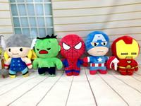 Wholesale Wolverine Hero Doll - The Avengers Super Heroes Plush Toys Thor Wolverine Spider-man Captain America Iron Man Plush Dolls Kids Toys Free Shipping