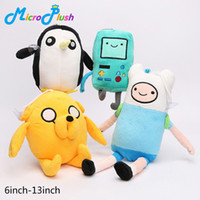 Wholesale Adventure Time Finn Jake - 6inch-13inch Adventure Time Finn Jake BMO Penguin Plush toys Soft Stuffed Anime Dolls High quality brinquedos