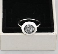 Wholesale Round Silver Ring Box - newest Compatible with pandora Jewelry Silver Ring w  logo Authentic 925 Sterling Silver round disc Ring with cz paved with box