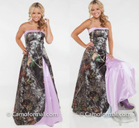 Wholesale flooring patterns - 2016 Strapless Camo Prom Dresses Satin Custom Made Plus Size Light Purple Pink Backless Evening Party Dresses Spring Country Vestidos